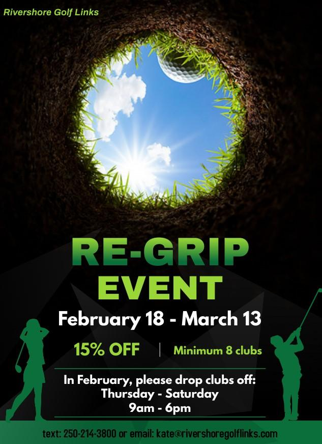 re-grip golf clubs at Rivershore
